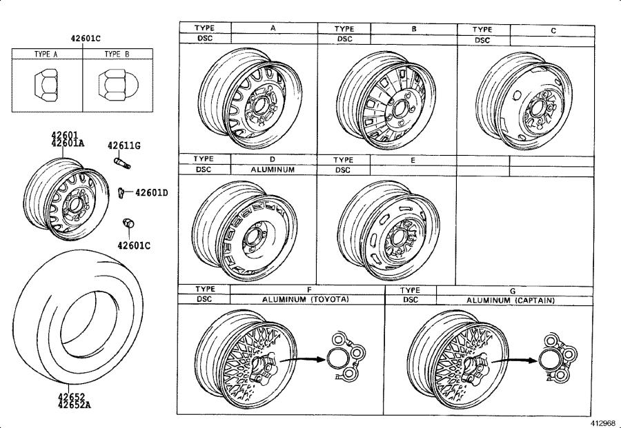 Diagram DISC WHEEL & WHEEL CAP for your 1991 Toyota Camry