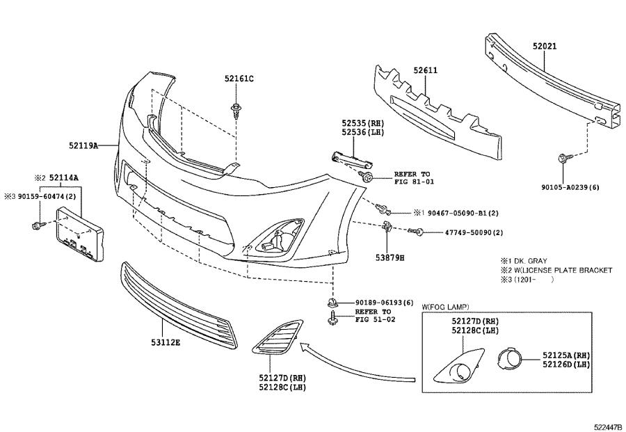 Diagram FRONT BUMPER & BUMPER STAY for your 2014 Toyota Camry
