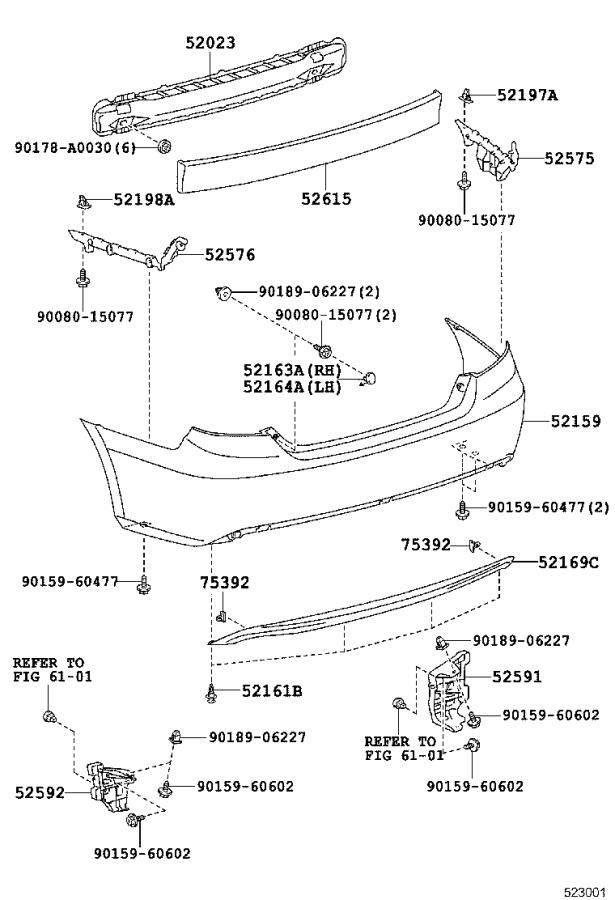 Diagram REAR BUMPER & BUMPER STAY for your 2014 Toyota Camry