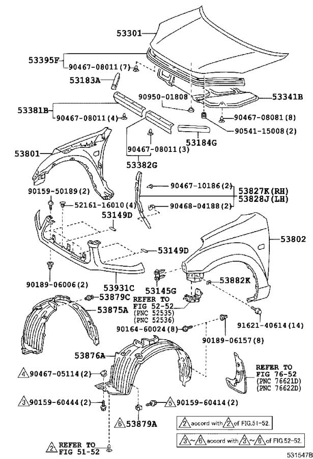 Diagram HOOD & FRONT FENDER for your 1988 Toyota Camry