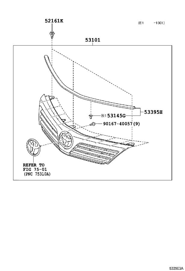 Diagram RADIATOR GRILLE for your 2014 Toyota Camry