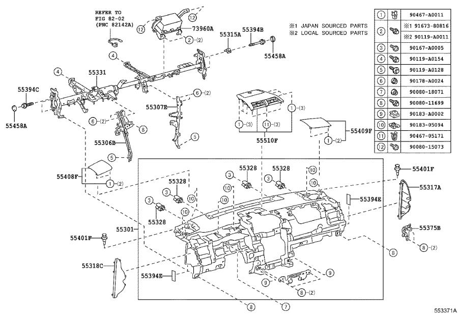 Diagram INSTRUMENT PANEL & GLOVE COMPARTMENT for your 2014 Toyota Camry