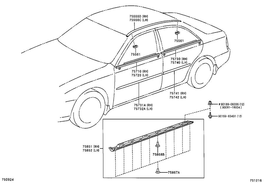 Diagram SIDE MOULDING for your 1997 Toyota Camry