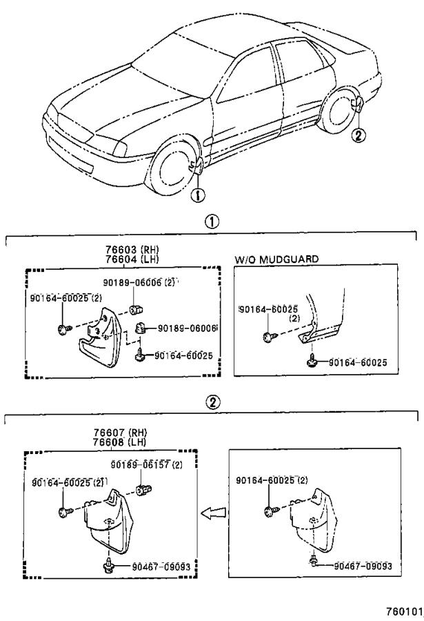 Diagram MUDGUARD & SPOILER for your 1988 Toyota Camry