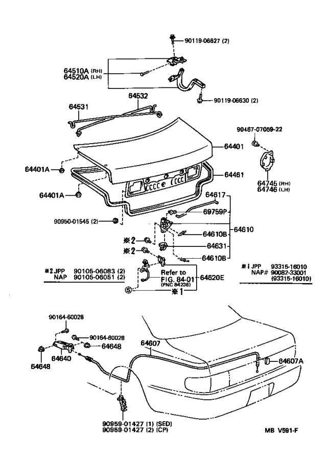 Diagram LUGGAGE COMPARTMENT DOOR & LOCK for your 1996 Toyota Camry